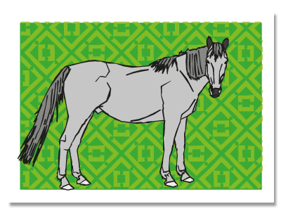"chinese zodiac sign postcard ""Horse"""
