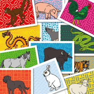 Chinese zodiac sign postcards