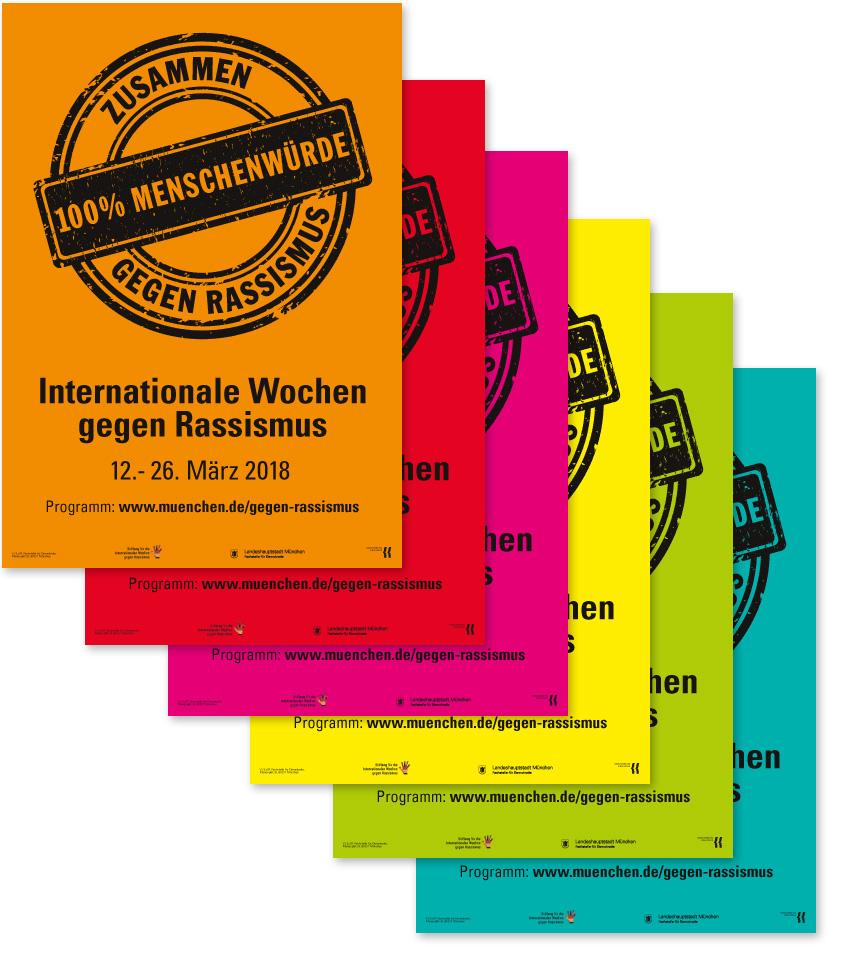 Bunte Plakate für die Internationalen Wochen gegen Rassismus 2018