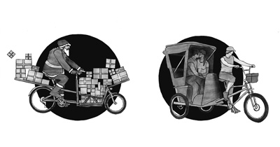 "Thumbnails of illustrations for the book ""Cargobike Boom"""