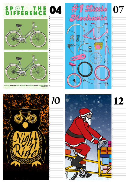 Illustrations for Umwerk's cycling calendar. Months of May, June, October and December