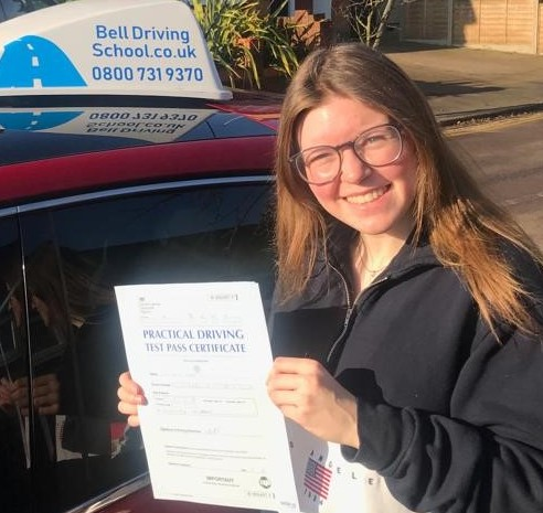 Zoe passing her test