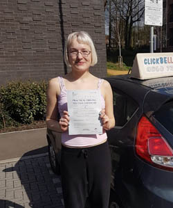 Holly passing her test