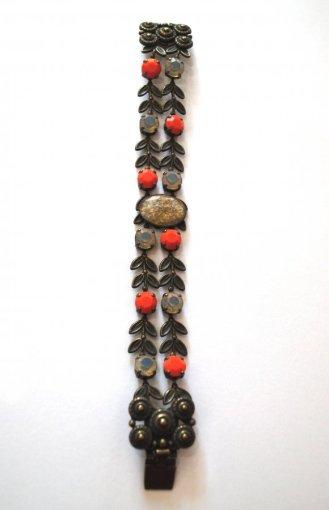 Bracelet corail et bronze