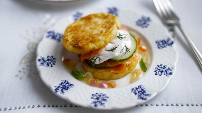 Potato Pikelets, Smoked Salmon & Creme Fraiche
