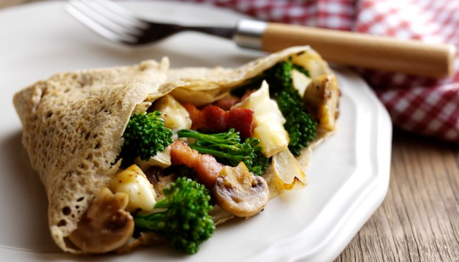 Tenderstem Galette with Lardons, Mushrooms and Brie