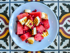 The real Greek is offering a special watermelon menu for the summer and Belle About Town tried it out. Here, the watermelon salad with halloumi and pomegranate.