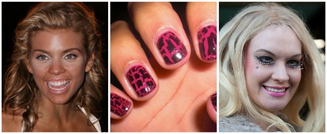 Worst Beauty Trends 2011, Annalynne McCord, bad fake tan, crackle nails, Kitty Brucknell