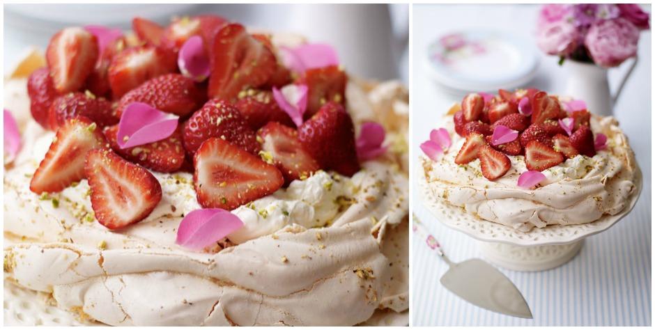 rose petal and pistachio pavlova