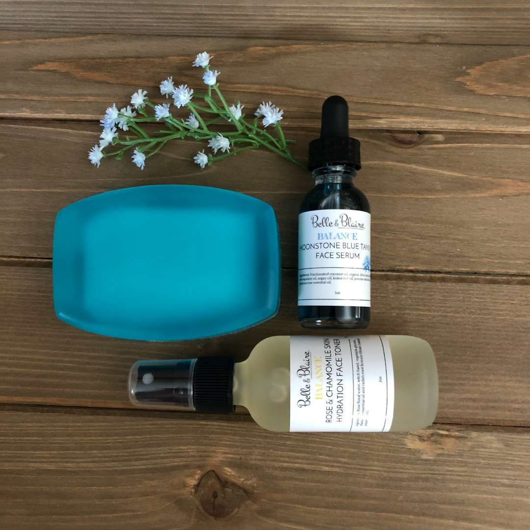 Balance – Moonstone Blue Tansy & Rose Chamomile Skin Care Set