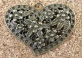 Coeur fleuri bronze, 32x40mm