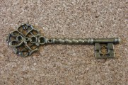 Grande clef bronze vieilli, 68x20mm
