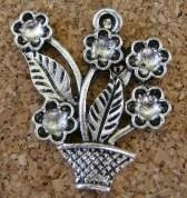 Pot de fleurs argenté, 30x28mm
