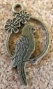 Perroquet fleuri bronze, 28x14mm