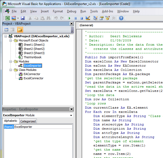 Simple VBA Excel to EA importer v4 - Bellekens