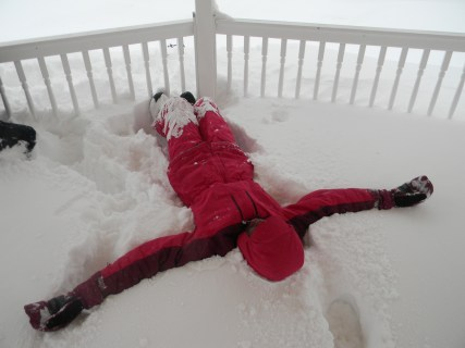 Lying in the snow