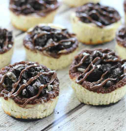Mini Nutella Swirl Oreo Cheesecakes
