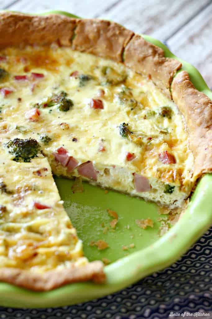 Ham and Broccoli Quiche with Gouda   Belle of the Kitchen