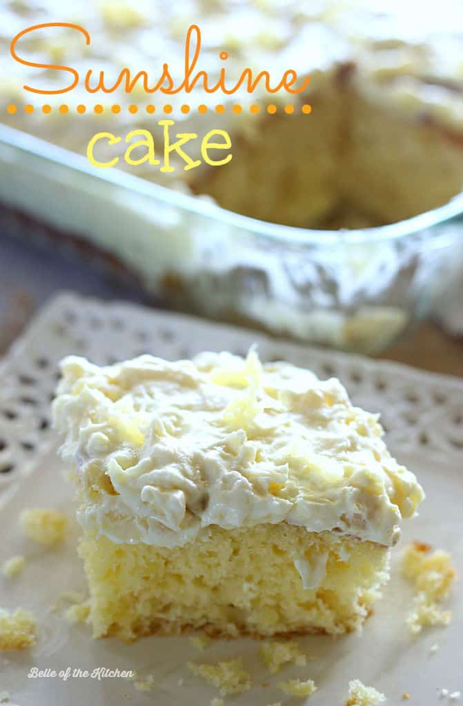 A light and fluffy pineapple-infused cake, topped with a sweet and creamy whipped cream frosting. This Pineapple Sunshine Cake is always a crowd pleaser!
