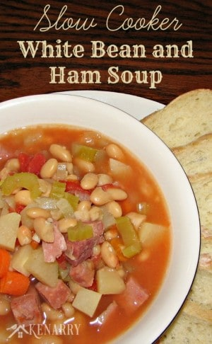 Slow Cooker White Bean and Ham Soup from Kenarry.com