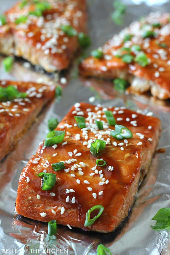 My favorite way to eat salmon now! Oven roasted Teriyaki Glazed Salmon topped with a delicious homemade glaze and packed with flavor.