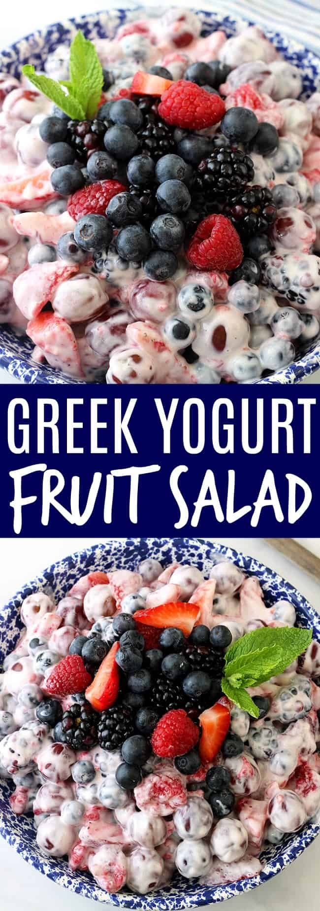 This Greek Yogurt Fruit Salad is made with fresh fruit and a creamy greek yogurt cheesecake filling! Perfect for a side dish, or a lightened up dessert!