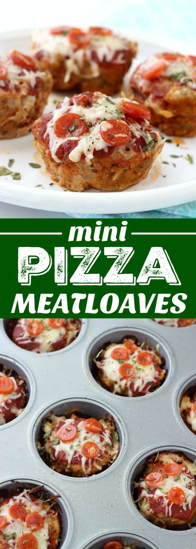 These Mini Pizza Meatloaves are a fun twist on traditional meatloaf! They're made pizza style and come in at under 150 calories each thanks to ground turkey!