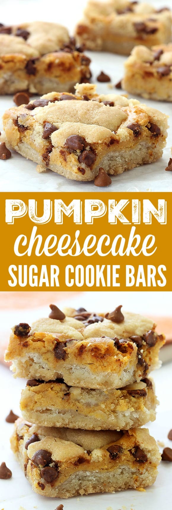 I have made these Pumpkin Cheesecake Sugar Cookie Bars SO many times for friends and family! I get asked for the recipe constantly!