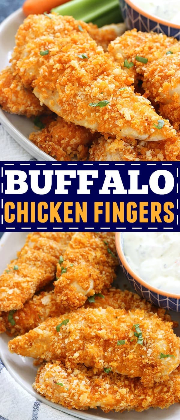 These Baked Buffalo Chicken Fingers are perfect for an easy, tasty dinner, or an appetizer for a crowd. They're quick, crispy, and taste delicious dipped into bleu cheese with chopped celery and carrots on the side!