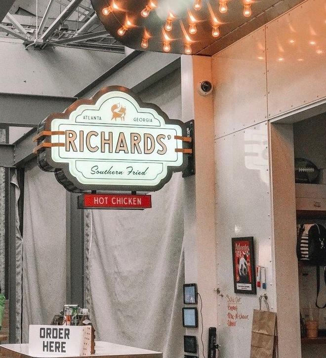 Richard's chicken sandwiches in Krog Street Market, Atlanta, Georgia