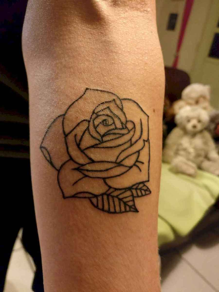 26 Traditional Rose Outline Tattoo Designs Ideas