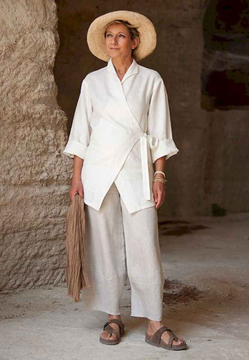 01 Summer White Linen Pants Outfit for Women