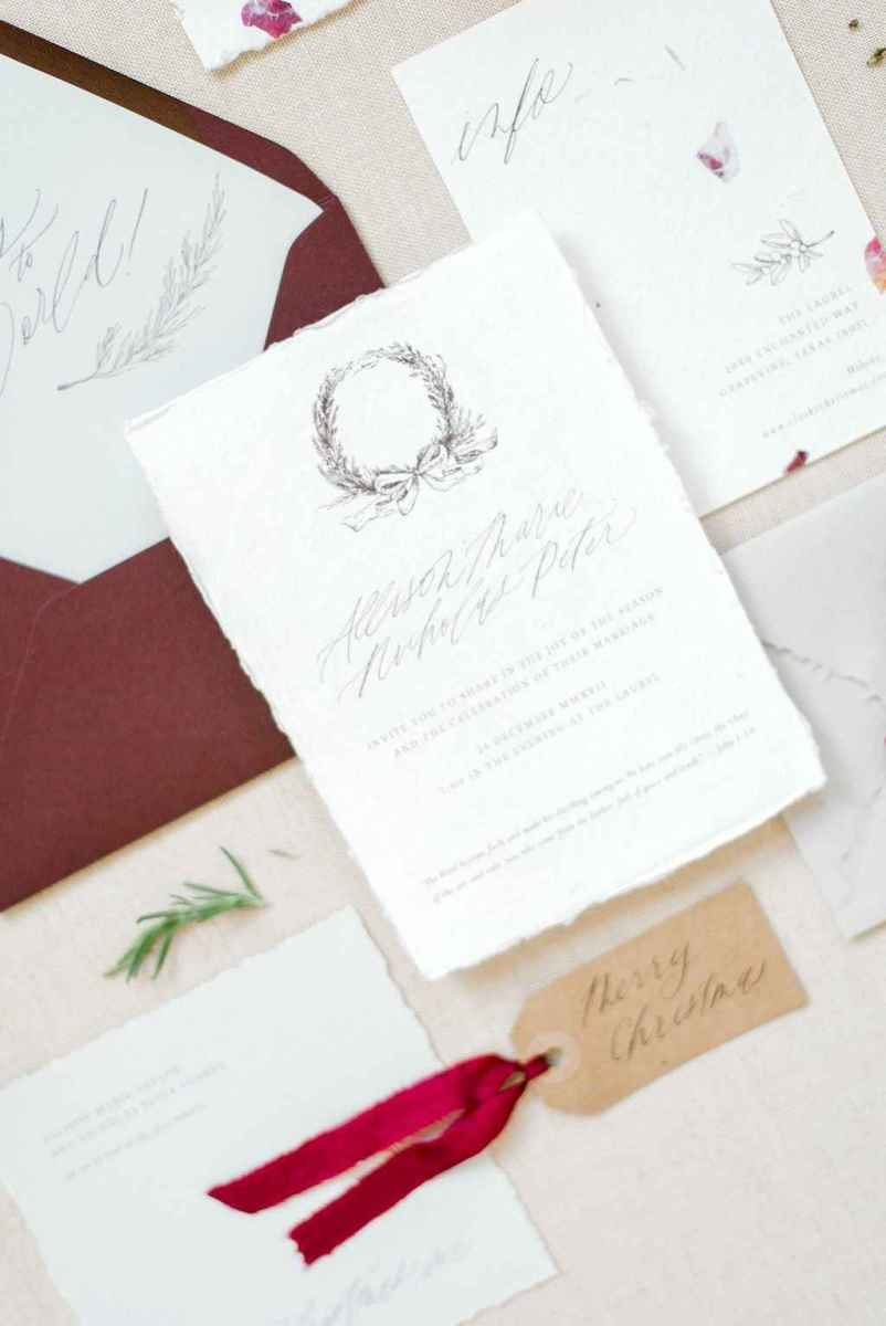 27 Elegant Christmas Wedding Invitations Ideas