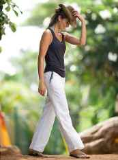 33 Summer White Linen Pants Outfit for Women
