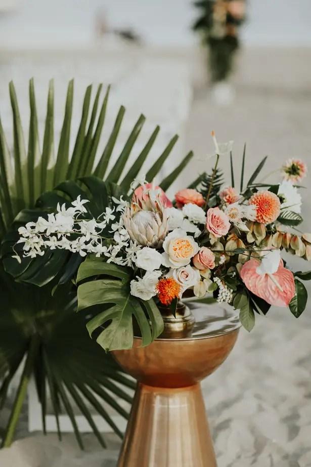 Glamorous Tropical Wedding Flowers - Amy Lynn Photography
