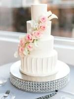 classic white wedding cake with roses - Sarah Nichole Photography