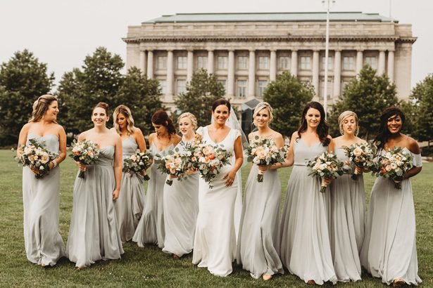 Long mismatched green pastel bridesmaid dresses - Man and Wife Photography