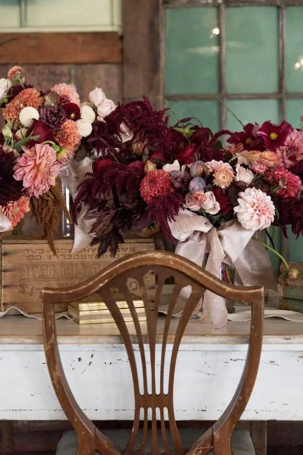 Wedding tablescape with burgundy centerpiece - Photography: Szu Designs, Inc