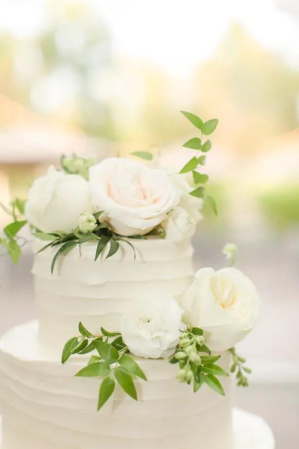 Chic Wedding Cake with White Roses - Theresa Bridget Photography