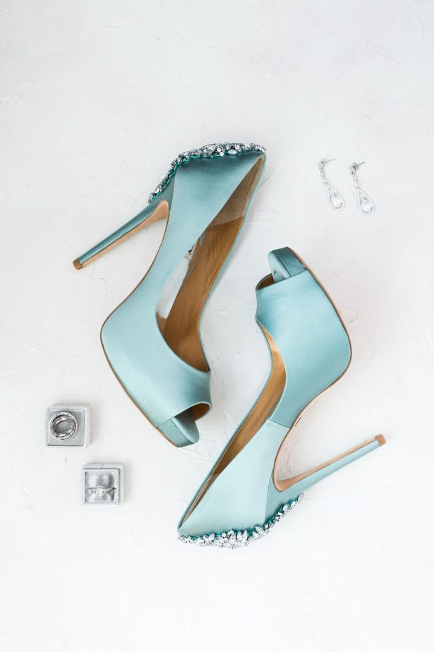 Light blue glamorous wedding shoes - Lynne Reznick Photography