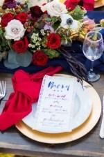 Burgundy and navy wedding place setting - Holley Elizabeth Photography
