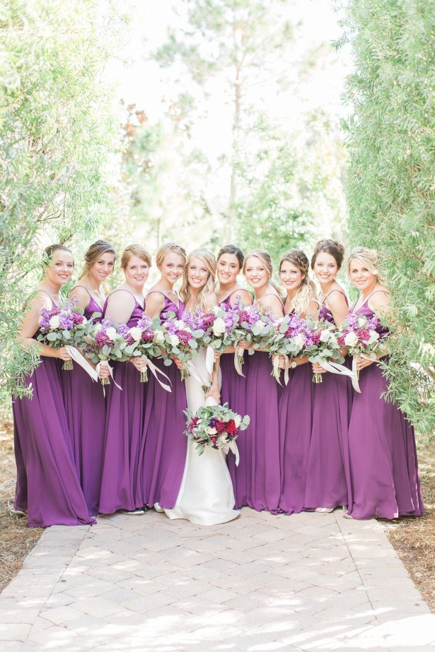 Long matching purple bridesmaid dresses - Photography: The Hendricks