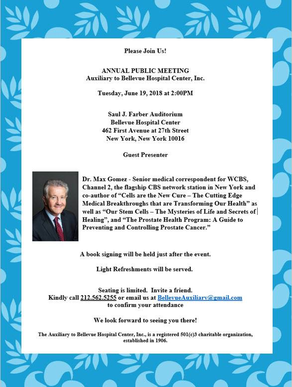 Join us and our 2018 Guest Presenter, WCBS Channel 2's Dr. Max Gomez, on June 19th, 2018