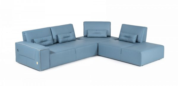 accenti italia enjoy modern italian blue leather sectional sofa