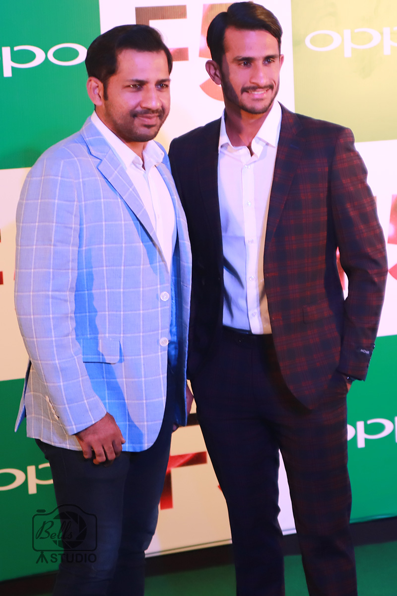 Sarfaraz Ahmed and Hassan Ali at OPPO F5 Launch