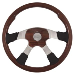 Bells-And-Whistles-Chrome-Shop-Trucks-Aftermarket-Accessories-Steering-Steering-Creations-Milestone-Elite-Mahogany-Steering-Wheel-Peterbilt-Kenworth-Freightliner-Mack-Volvo-Lonestar
