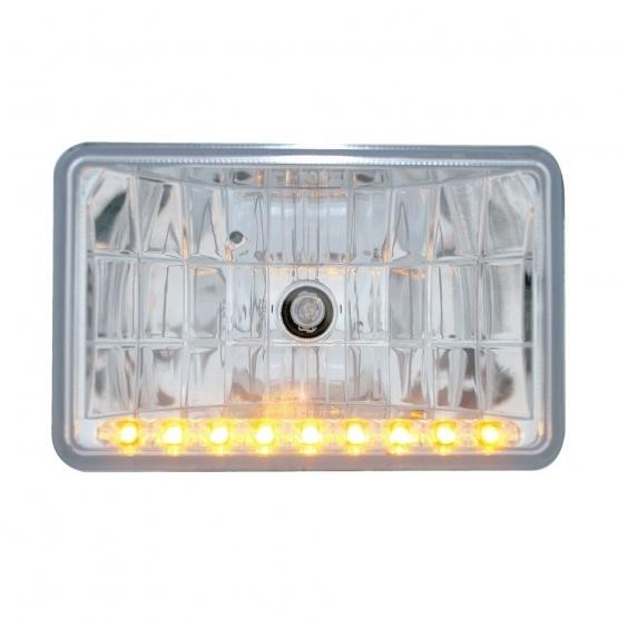 """United Pacific 4"""" x 6"""" Crystal Headlight w/ 9 Amber LED Position Light"""