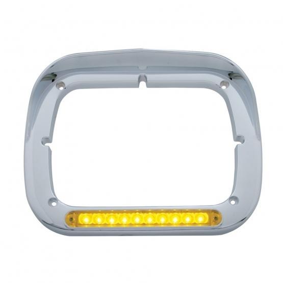 United Pacific 0 LED Single Headlight Bezel w/ Visor - Amber LED/Amber Lens