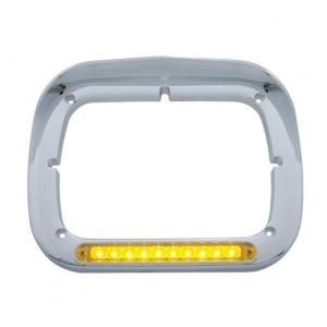 United Pacific 0 LED Single Headlight Bezel w/ Visor - Amber LED/Amber Lens