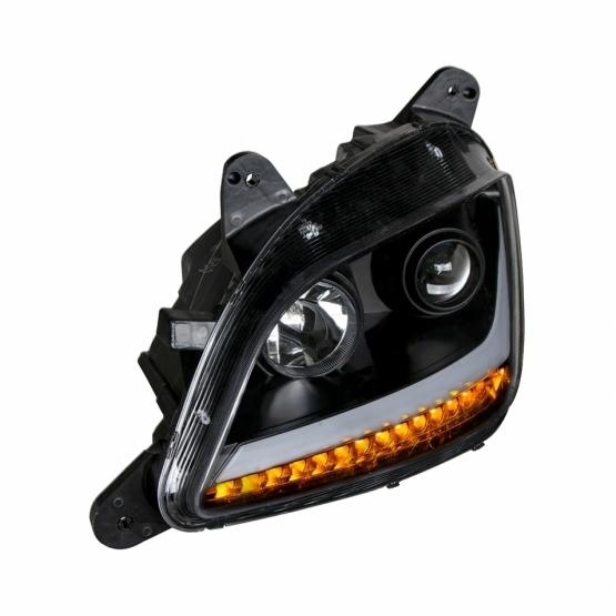 United Pacific Blackout Projection Headlight w/ LED Position & Turn Signal Light For 2011+ Peterbilt 579/587